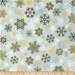 Holiday Flourish 6 Snowflake Metallic Frost Blue