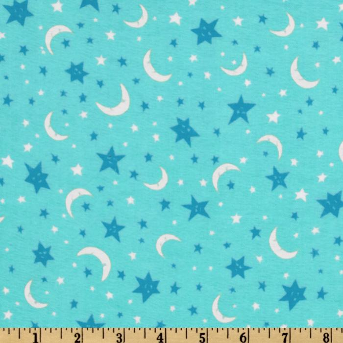 Owl Flannel Nursery Stars &amp; Moons Aqua