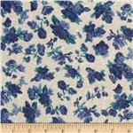 Stretch Polyester Slub Jersey Knit Floral Blue