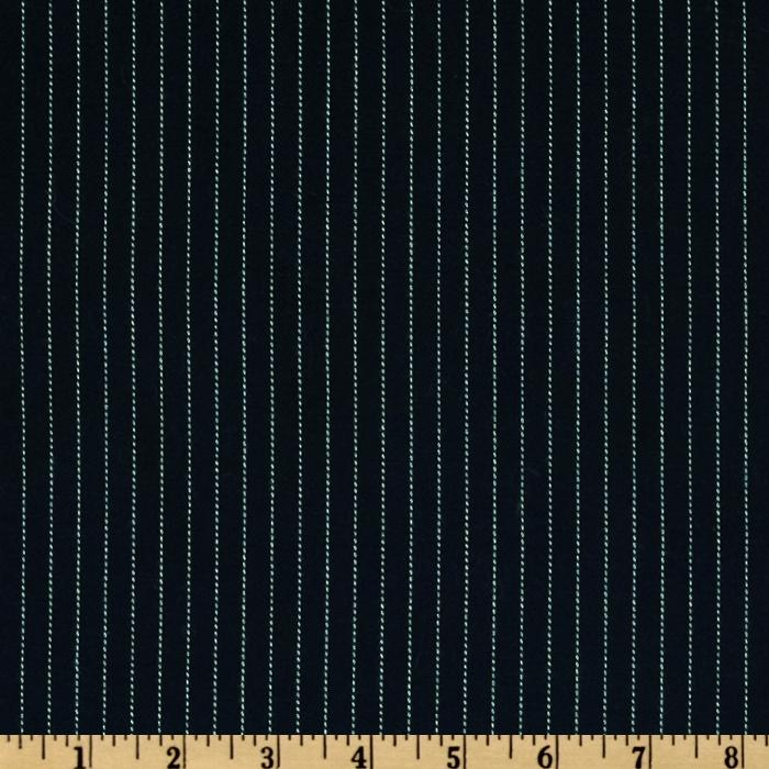 Brushed Gabardine Suiting Pinstripe Navy/Ivory