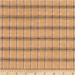 Designer Rayon Blend Textured Shirting Plaid Peach