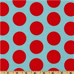 Riley Blake Dots Large Aqua/Red