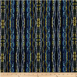 Designer Stretch ITY Abstract Royal/Black