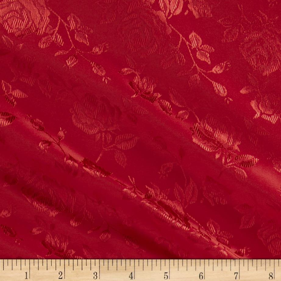 Jacquard Satin Roses Red