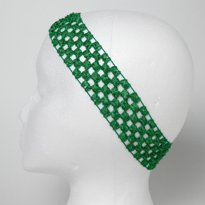 1 3/4'' Stretch Crochet Headband Green
