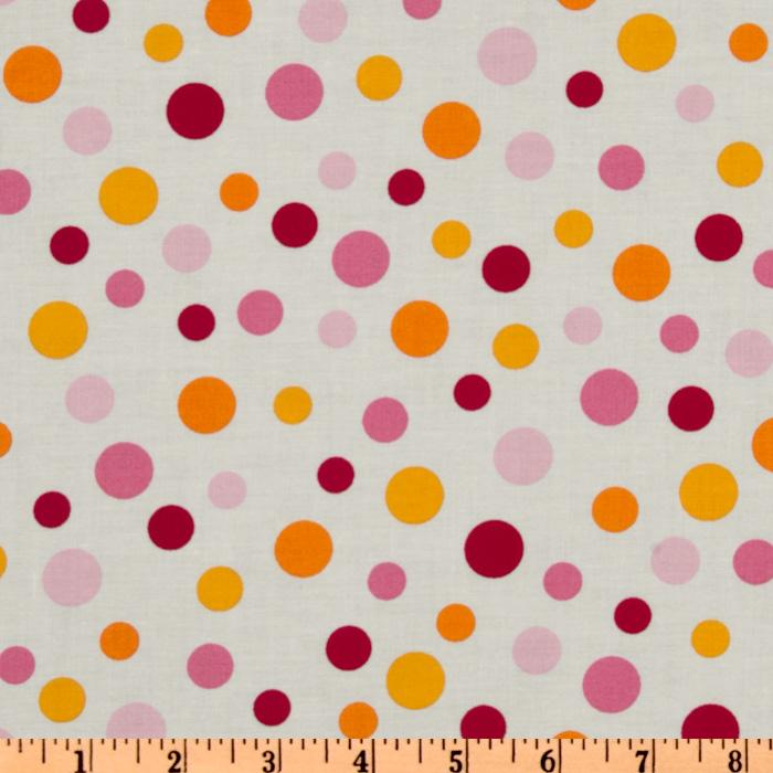 Crazy for Dots & Stripes Tossed Dots White/Pink/Yellow