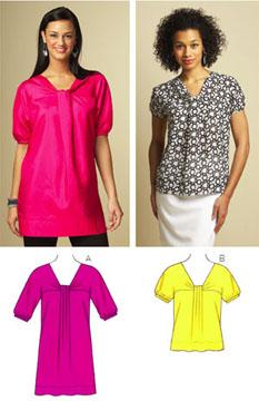Kwik Sew Misses Fold-over Yolk Top & Tunic Pattern
