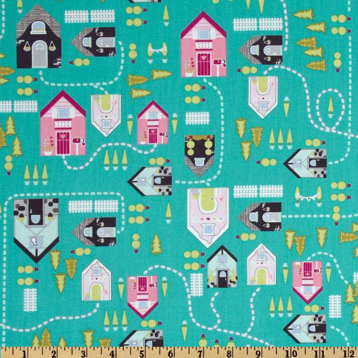 Storybook Lane Houses Teal