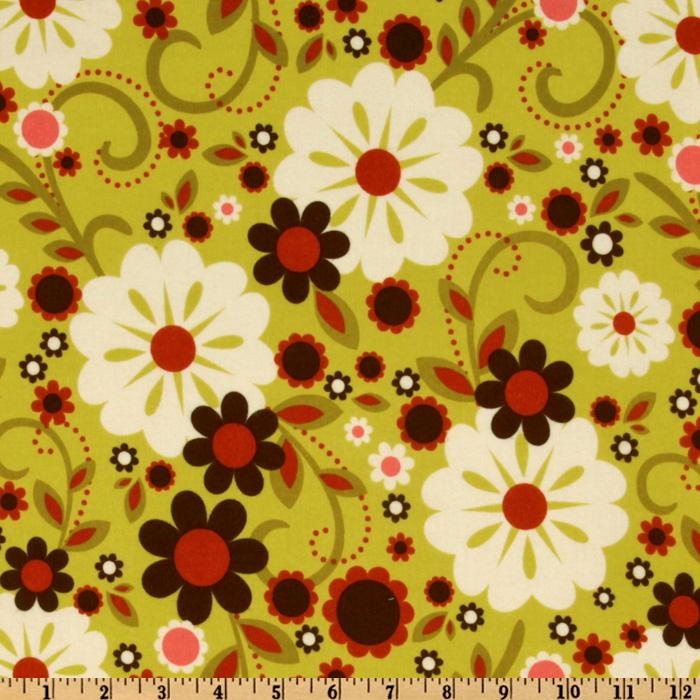 Indian Summer Flannel Retro Flowers Green