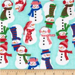 Flannel Tossed Large Snowmen Teal