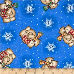 Flannel Tossed Teddy Bears Blue