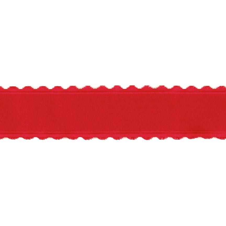 1.5&#39;&#39; Satin Scalloped Edge Ribbon Red
