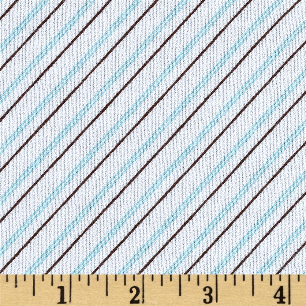 French Terry Diagonal Stripe White/Aqua/Brown