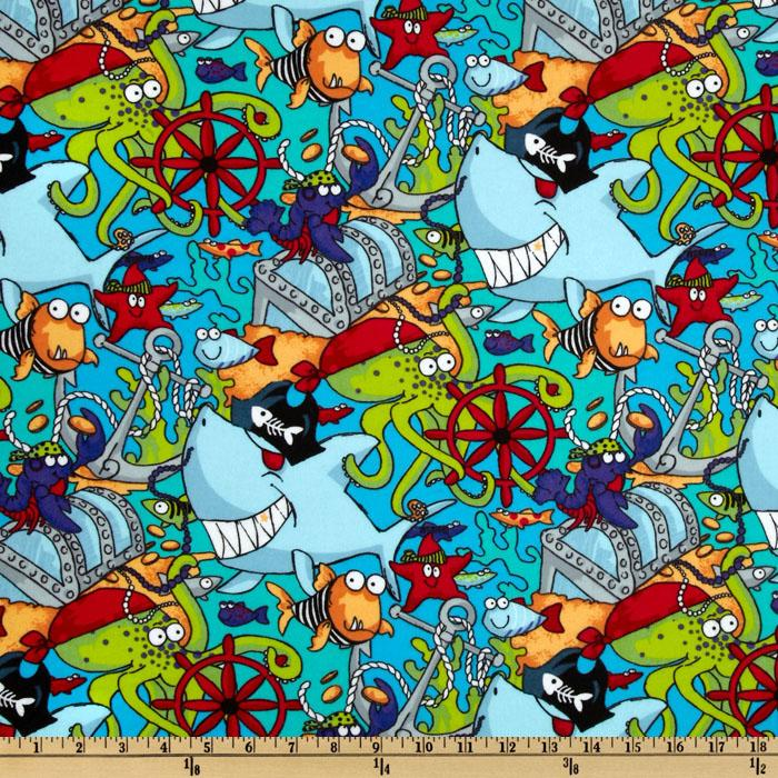 Fabri-Quilt Cuddle Flannel Pirate Fish Blue