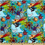 FR-779 Fabri-Quilt Cuddle Flannel Pirate Fish Blue