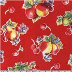 L-303 Oil Cloth Pears &amp; Apples Red