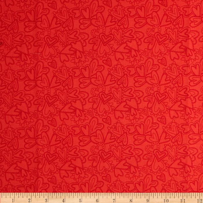 Moda Flirt Lacy Heart Tonal Rose Red