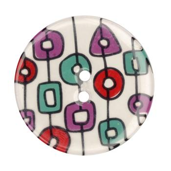 Novelty Button 1 3/8'' Shapes White