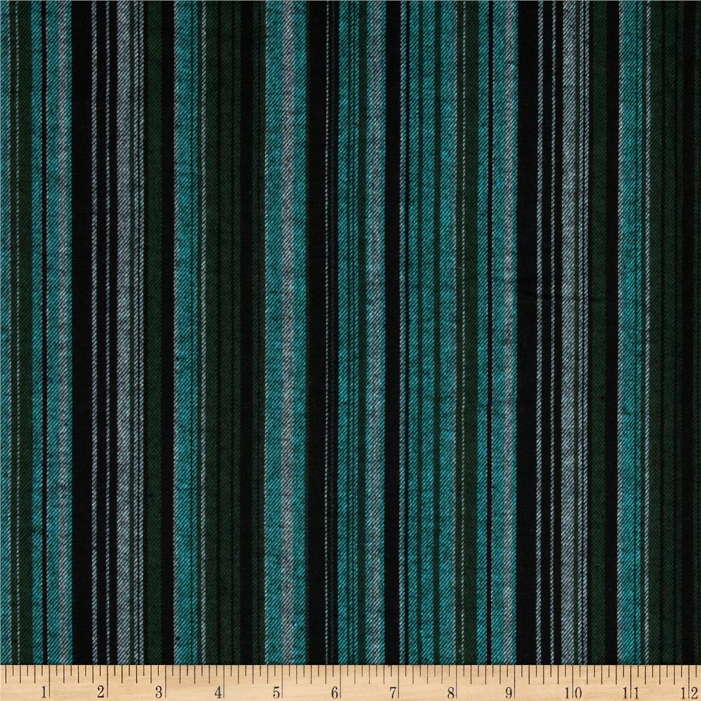 Yarn Dyed Flannel Stripe Black/Army Green