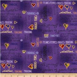 Laurel Burch Fabulous Felines Text Purple Metallic