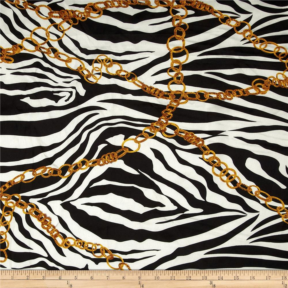 Satin Charmeuse Chain Zebra Black