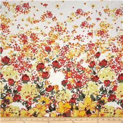 Printed Tissue Jersey Floral Border Coral/Yellow
