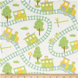 Train Flannel Single Trains White