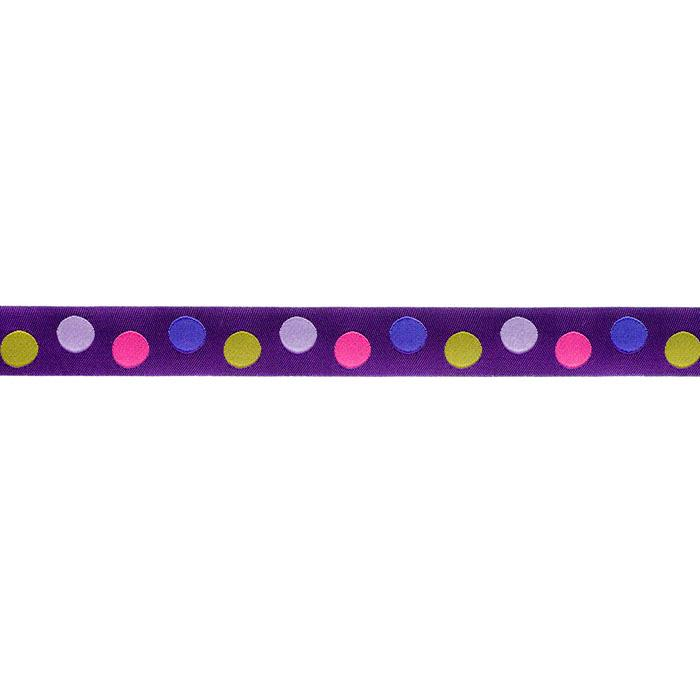 7/8'' Ribbon Dots Purple/Pink/Green