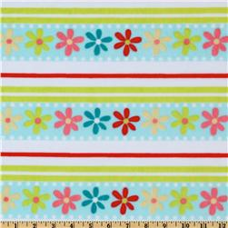 Minky Cuddle Daisy Stripe White/Aqua
