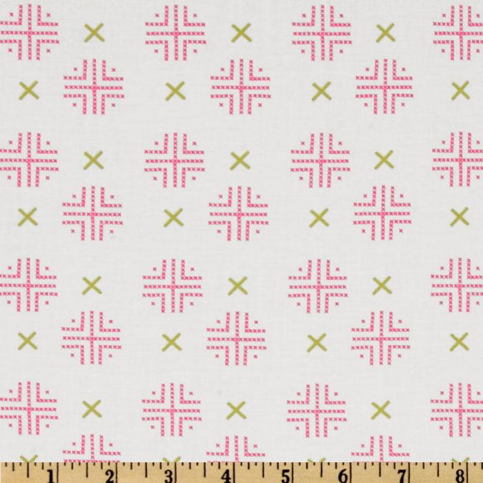 Moda Sew Stitchy Check Dot White/Carnation