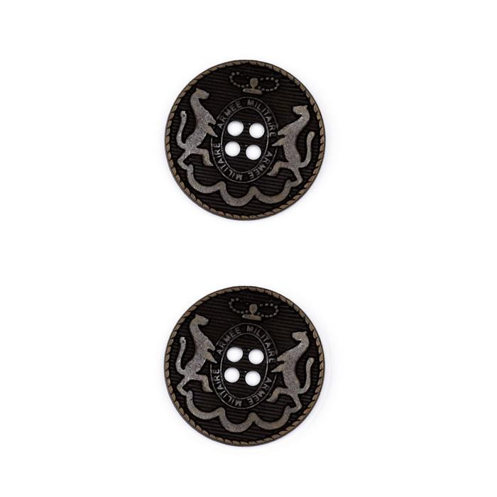 Metal Button 7/8&quot; Armee Militare Black Metal