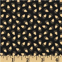 Timeless Treasures Cabin Paw Prints Black