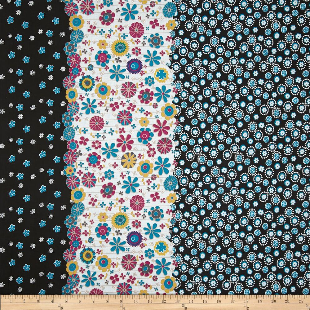 Cotton Lawn Shirting Floral Black/Turquoise