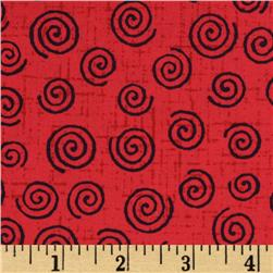110'' Wide Quilt Backing Swirl Red/Black
