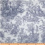 Timeless Treasures French Court 108&#39;&#39; Quilt Backing Toile Navy