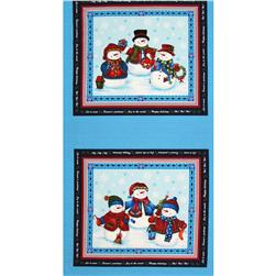 Winter Wishes Snowman Panel Blue/Red
