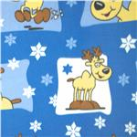 Printed Fleece Reindeer Blue