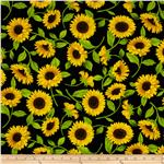 0301758 Timeless Treasures Fleur Sunflowers Black