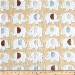 Double-Sided Minky Fleece Elephant Latte