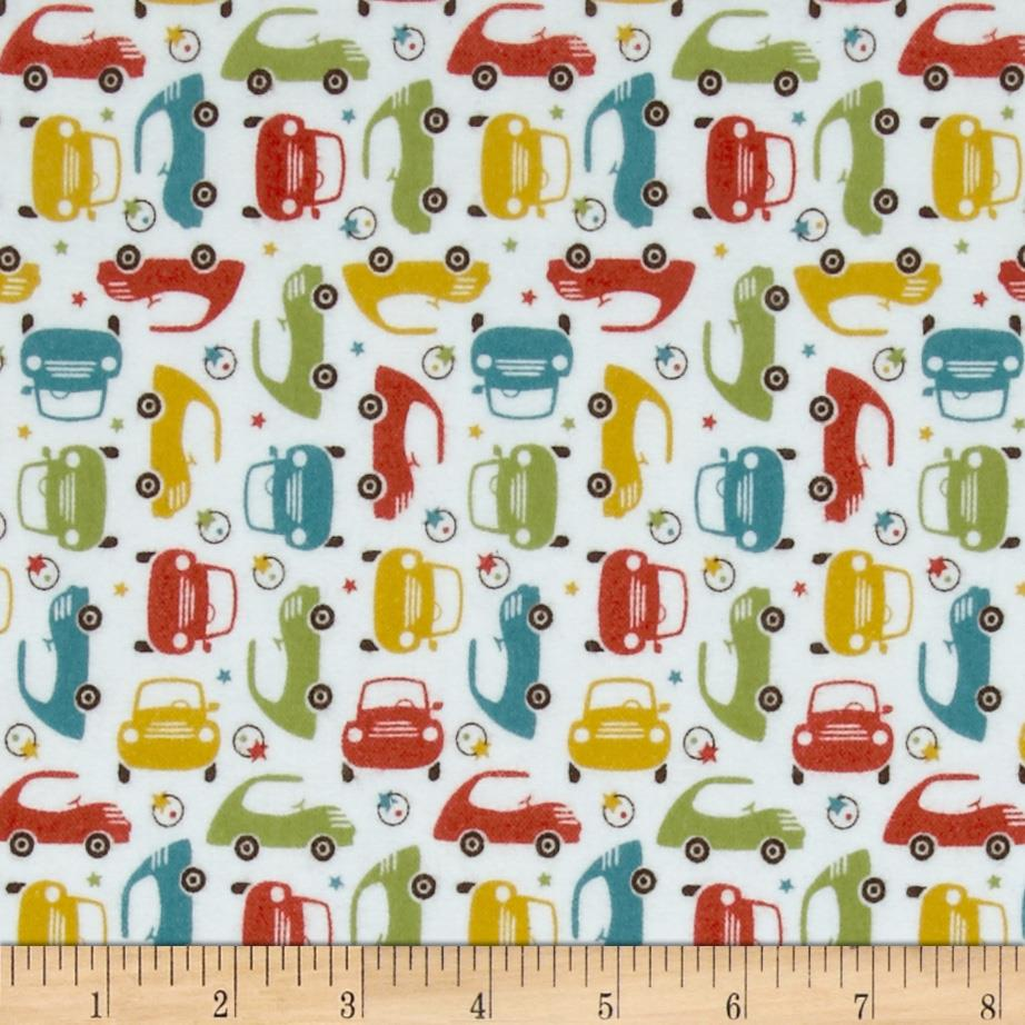 Riley Blake Cruiser Blvd Flannel Mini Cars Green