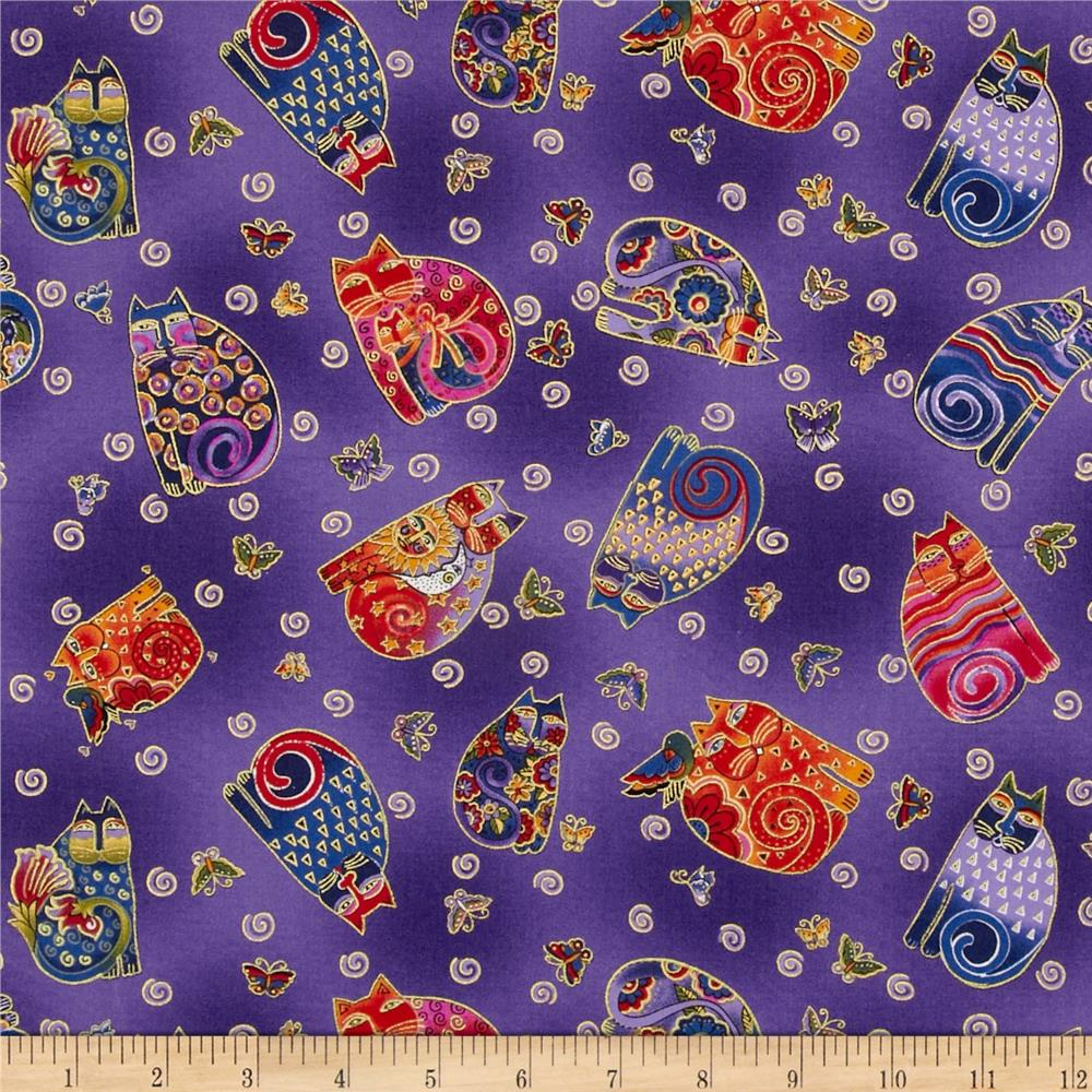 Laurel Burch Fabulous Felines Sitting Cats & Butterflies Purple Metallic