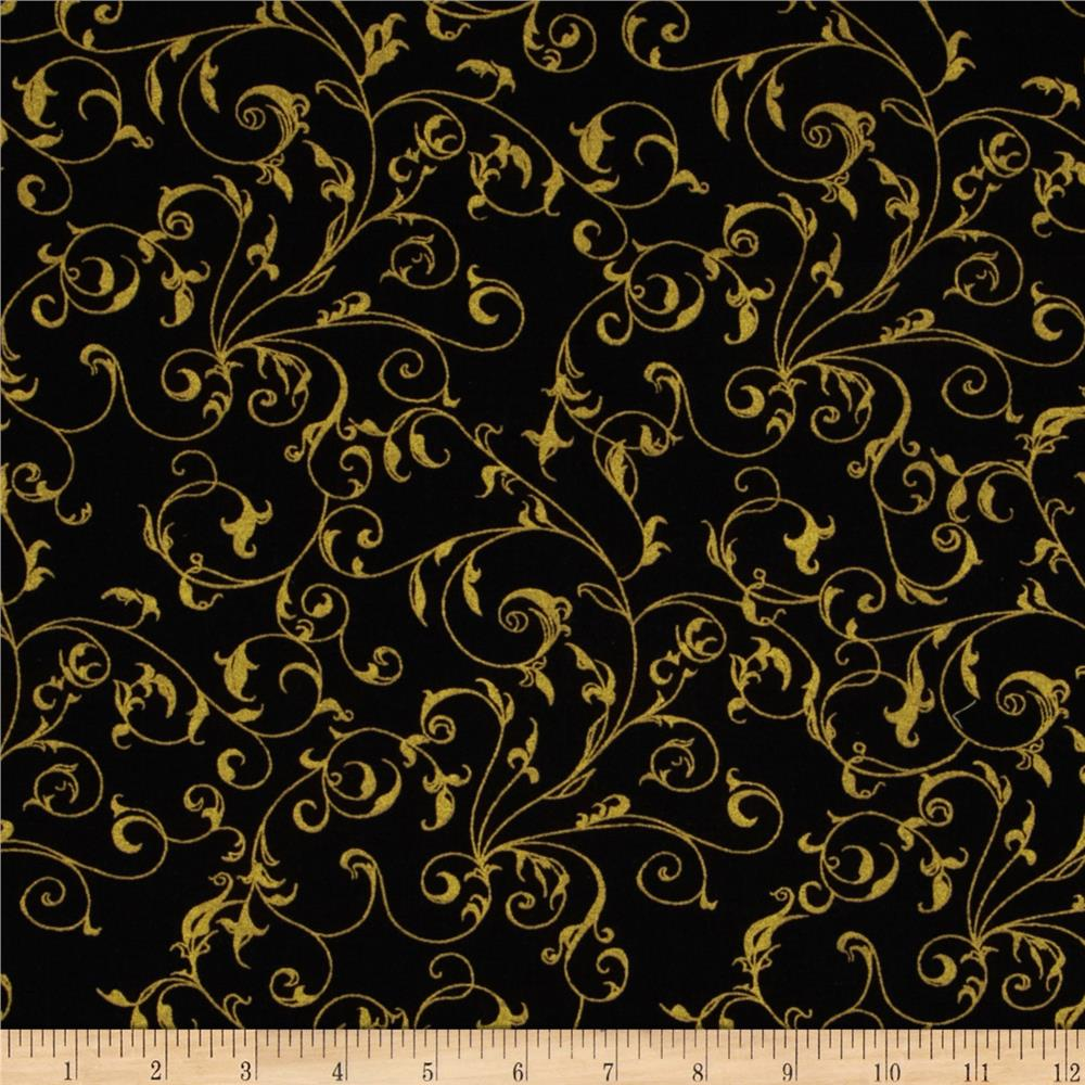 "110"" Wide Quilt Backing Flourish Black/Gold"