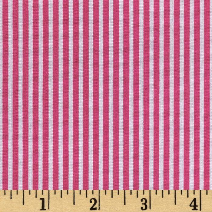 Tutti Frutti Broadcloth Stripes Hot Pink/White