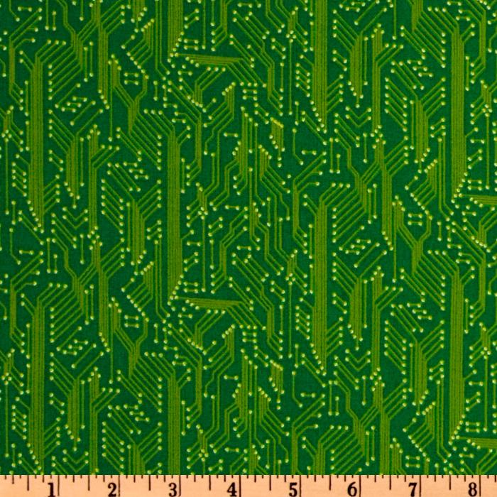 Timeless Treasures Computer Micro Chip Green