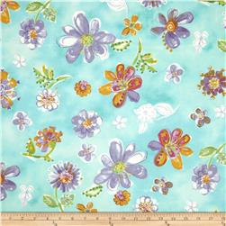 Daisy Love Flannel Tossed Flowers Spring