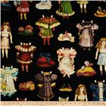 Victorian Paper Dolls Clothing Black/Multi