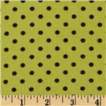 Kaufman 21 Wale Cool Cords Small Dots Kiwi