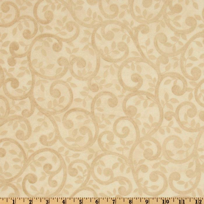 "Normandy Court 108"" Quilt Backing Scrolling Vines Cream"