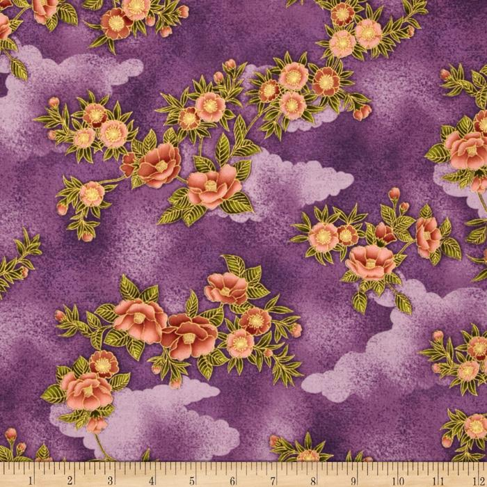 Phoenix Metallic Floral Purple