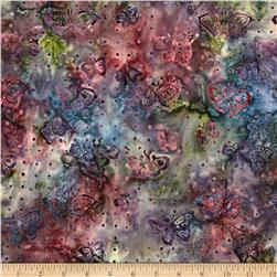 Moda Enchanted Pond Batik Butterflies Dusk/Violet